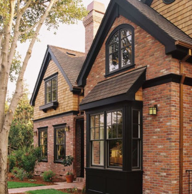dark red brick home exteriors red brick black windows home decor