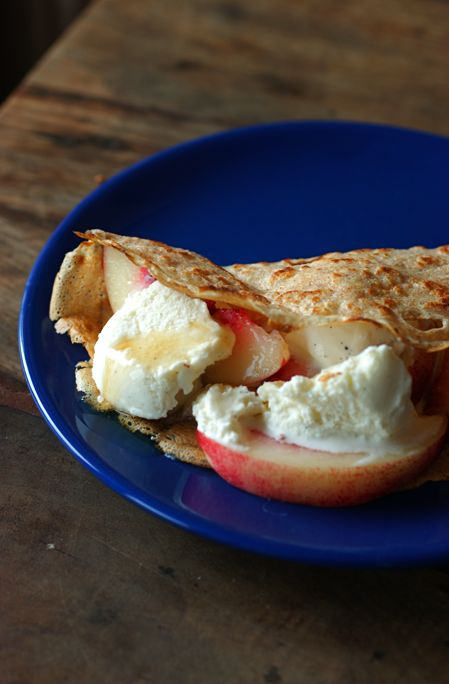 brown butter crepes with white nectarines and vanilla ice cream