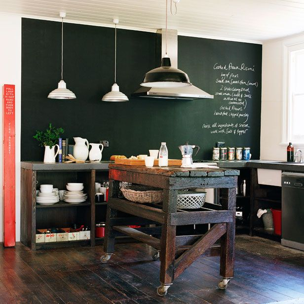 a chalkboard wall for recipes, art, lists, poetry, and who knows what else