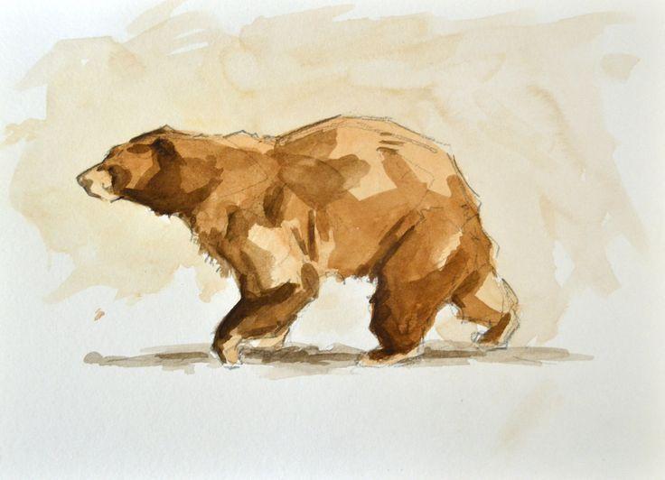 Bear watercolor tattoo - photo#20