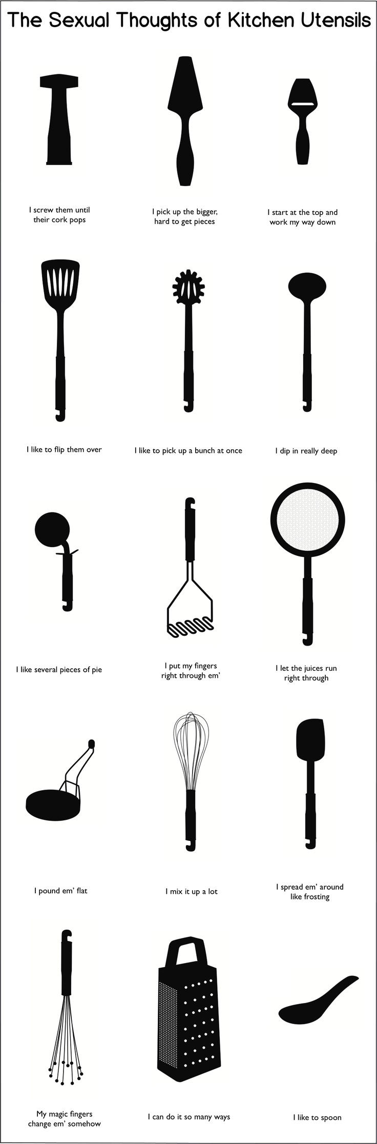 If your kitchen utensils could talk, and they were players, they might say this