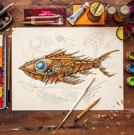 Steampunk fish art pinterest for Easy steampunk ideas