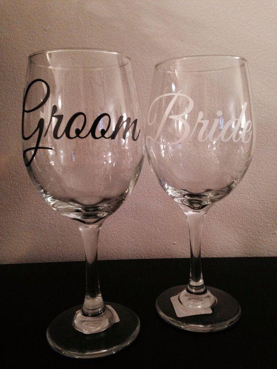Custom Wedding Wine Glasses : Bride & Groom Wine Glass Set. Custom wedding glasses