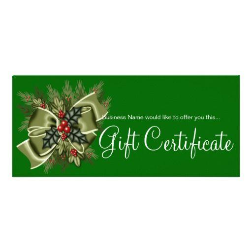 Business Gift Certificate Mistletoe & Green Bow