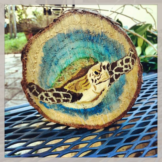 Real tree stump wood slice acrylic painting for A mural is painted on a