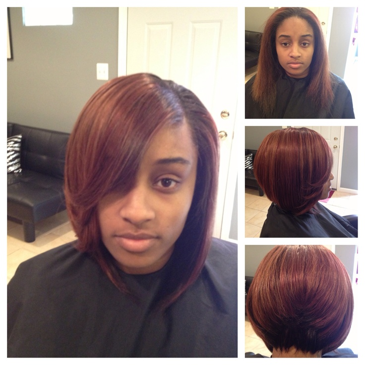 Full weave installation from her long hair to short bob. | Ôh my hair ...