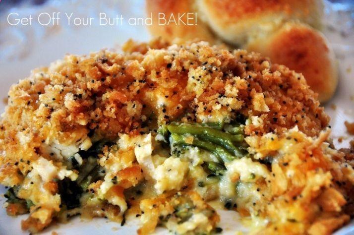 Ritz crackers, chicken, cheese broccoli - easy casserole.