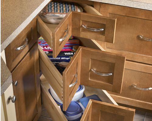 Corner drawers interior infatuation pinterest for Corner kitchen cabinet storage solutions