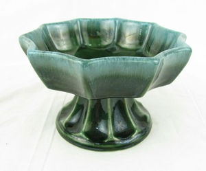 Vintage Hull Pottery Green Ceramic Footed Planter Compote Candy Dish ...