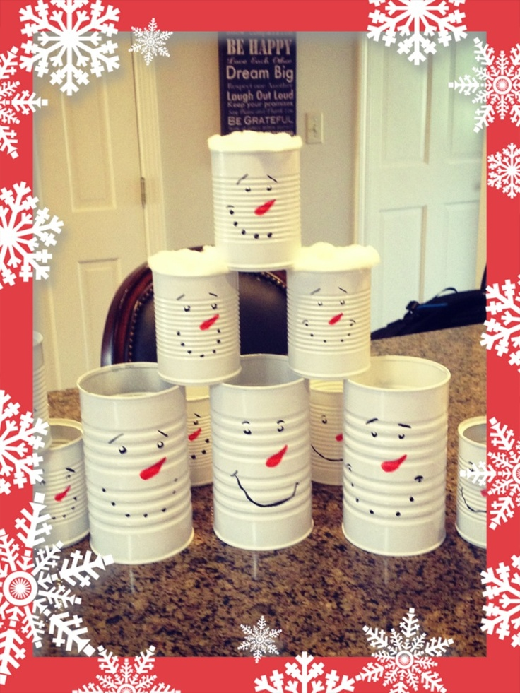 Tin cans painter like snowmen christmas pinterest for Christmas crafts out of tin cans