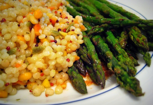 asparagus with balsamic browned butter and a blend of Israeli couscous ...