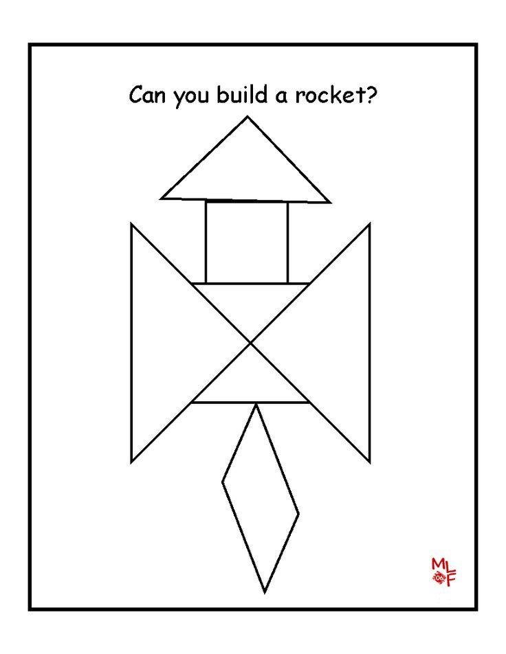 Rocket Tangram Printable Preschool Space Pinterest Rockets Templates