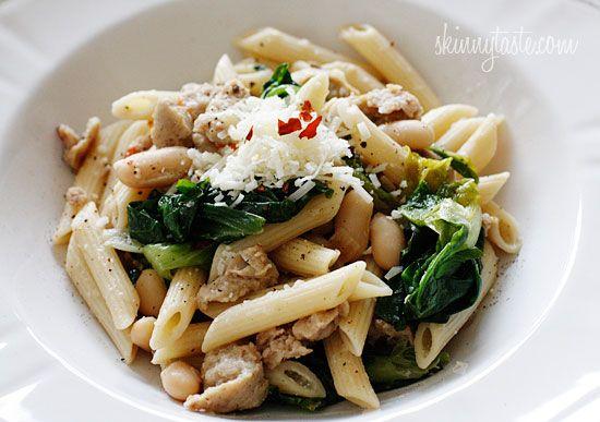 Pasta with Italian Chicken Sausage, Escarole and Beans   Recipe