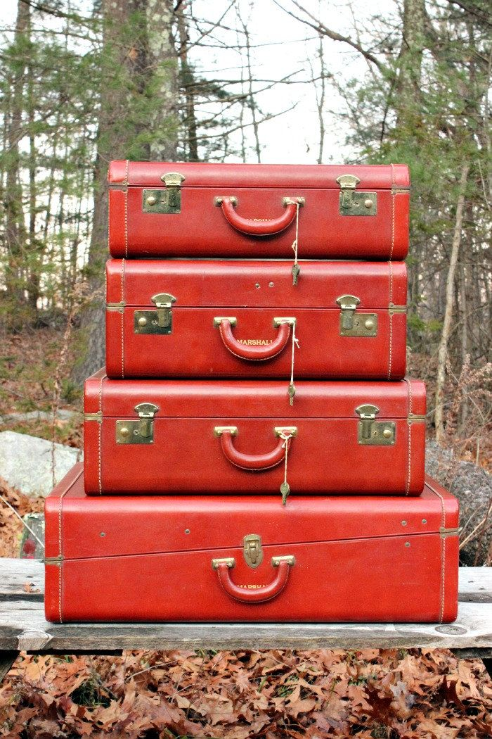 Reserve for kathryn vintage leather luggage set of 4 for What to do with vintage suitcases