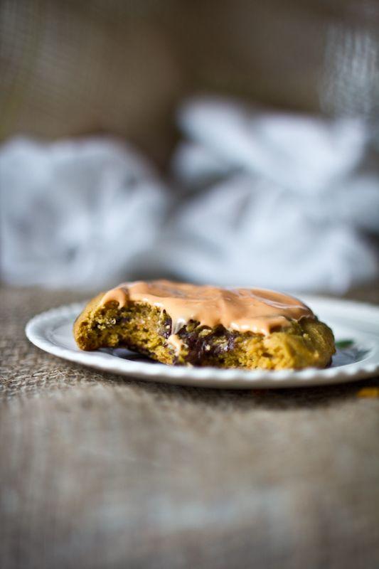 Dark Chocolate Chip Pumpkin Cookies with Cream Cheese Glaze & a McCor ...