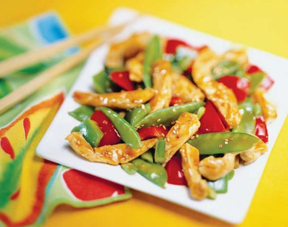 Sesame Chicken with Peppers and Snow Peas Ginger and sesame add an ...