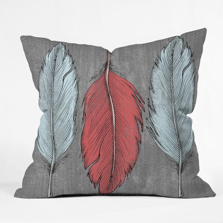 Wesley Bird Feathered Throw Pillow