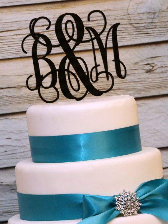 5 Personalized Custom Wedding Monogram Cake Topper via Etsy