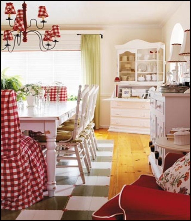 Highland House farmhouse table, head chairs covered in large red