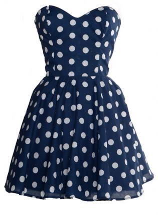 Navy Blue Cocktail Dress on Pin Up Blue Polka Dot Prom Party Dress  Dress  Navy Blue       Resty