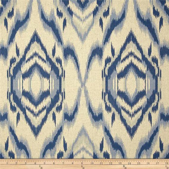 Navy and Oatmeal Ikat Curtain Panel/ Custom Drapery