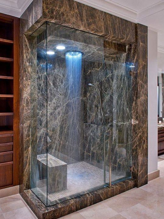 Closed In Stand Up Shower With The Head Attached On Ceiling Shower Standup Bathroom
