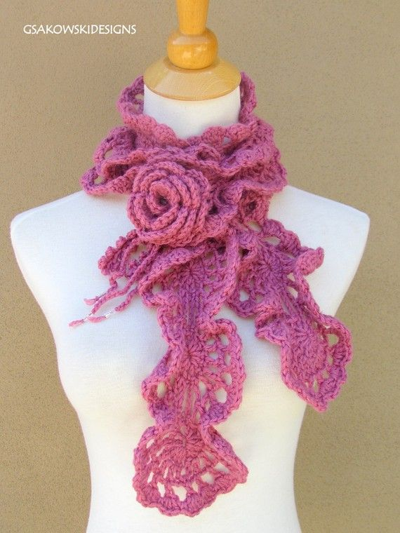 How To Crochet Ruffle Rose Scarf Free Pattern Tutorial For Beginners : Adore this Etsy artist... Yarn Pinterest