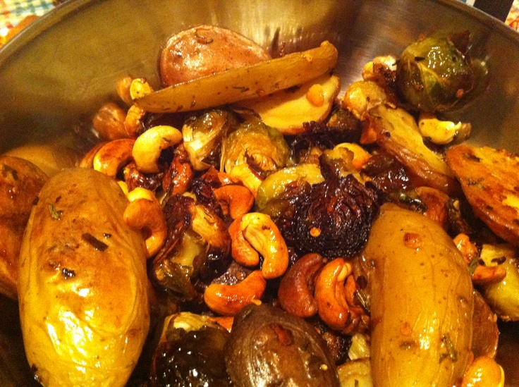 ... roasted brussel sprouts, potatoes, and cashews, with rosemary, garlic