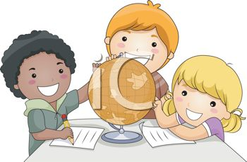 Royalty Free Clipart Image of a Group of Children With a Globe
