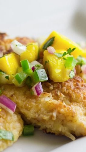 Coconut Crusted Chicken with Mango Salsa - could make it paleo with ...