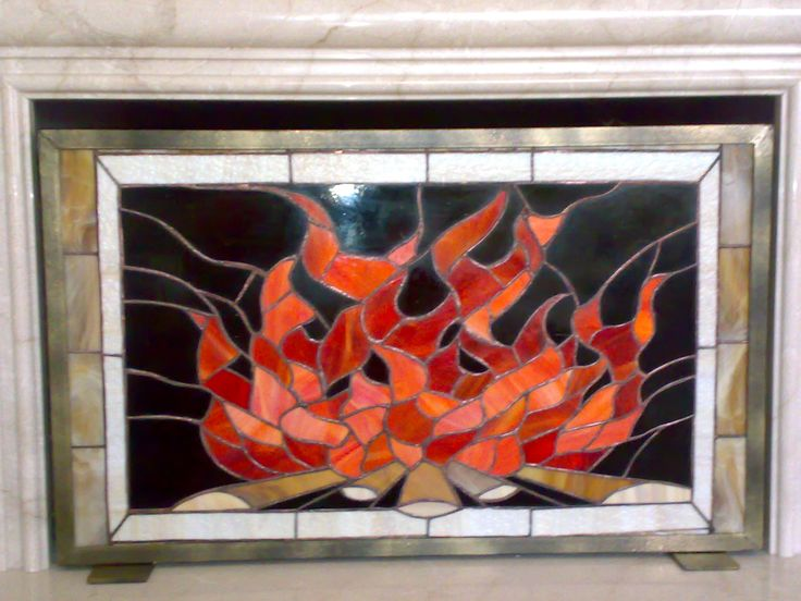 Fireplace screen mosaics more pinterest - Amazing stained glass fireplace screen designs with intriguing patterns ...