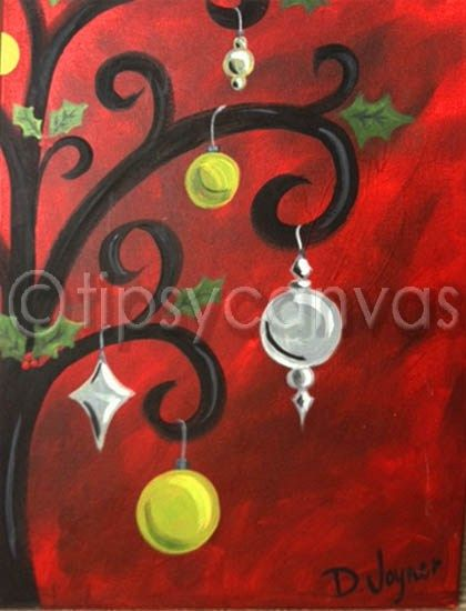 Swirly christmas tree canvas painting ideas pinterest for Christmas canvas painting ideas