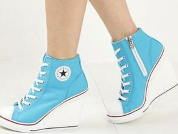 blue converse high heels shoes