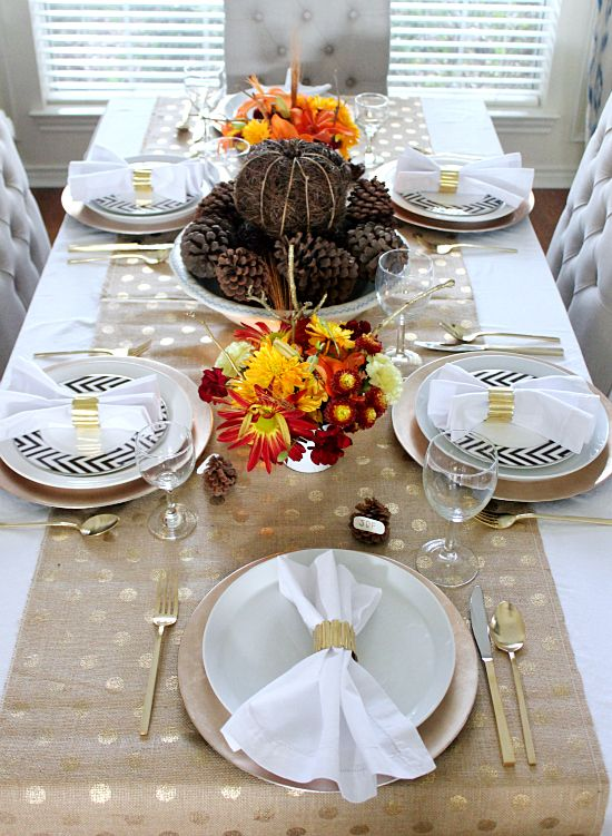 Thanksgiving table via Hi Sugarplum! Love the gold flatware and gold polka dot burlap runner!!!