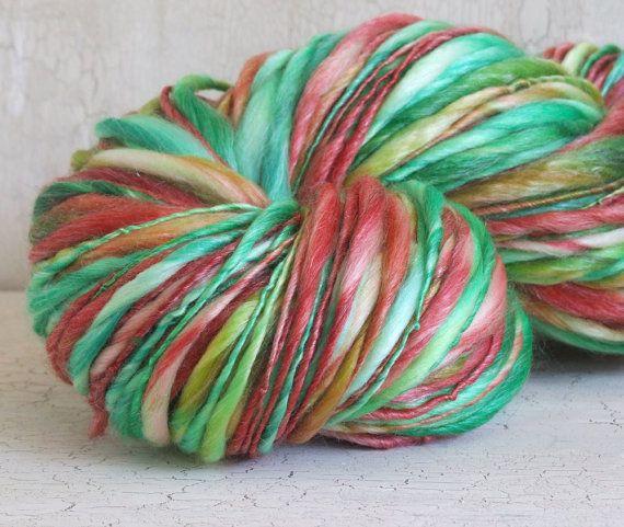 Handspun yarn - Classic Christmas - 151 yds superwash merino tencel s ...