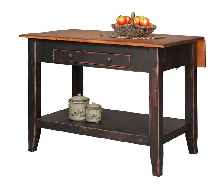 Primitive Kitchen Island Snack Bar Table Drop Side Farmhouse Country