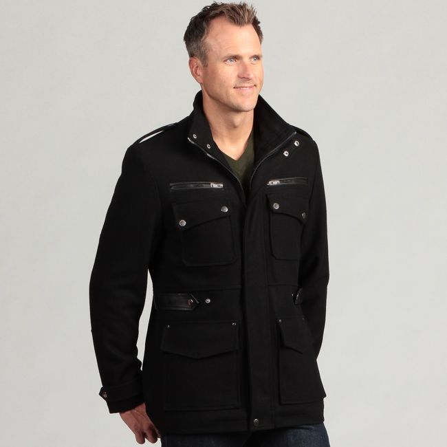 Keep warm and remain stylish with this military-inspired wool coat for