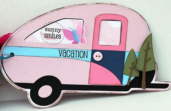 Cricut camping mini-álbum-Shantaie Fowler usando Sticker verano sentimientos.