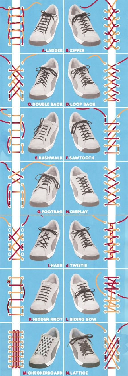 14 ways to lace shoes