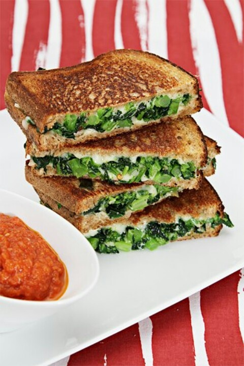 Grilled Cheese w/broccoli rabe | Food Porn | Pinterest