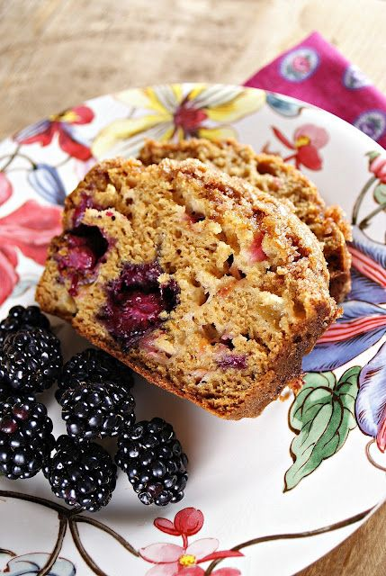 Cinnamon Sugar Topped Blackberry Rhubarb Bread @Patty Markison Price