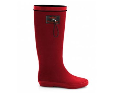 Red rain boots. They fold up!