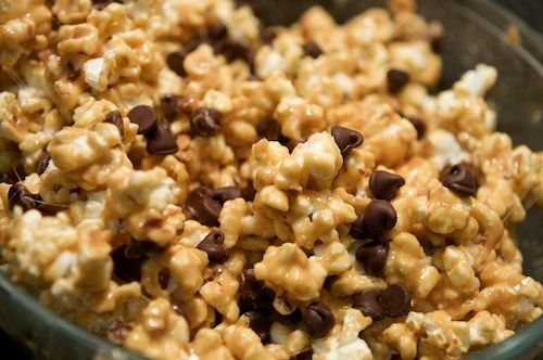 Peanut butter popcorn, with marshmallows, and chocolate chips. I can't ...