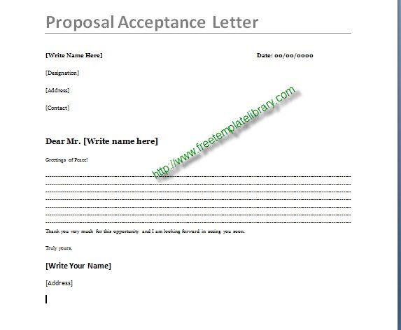Proposal Acceptance Letter   Letter template   Pinterest