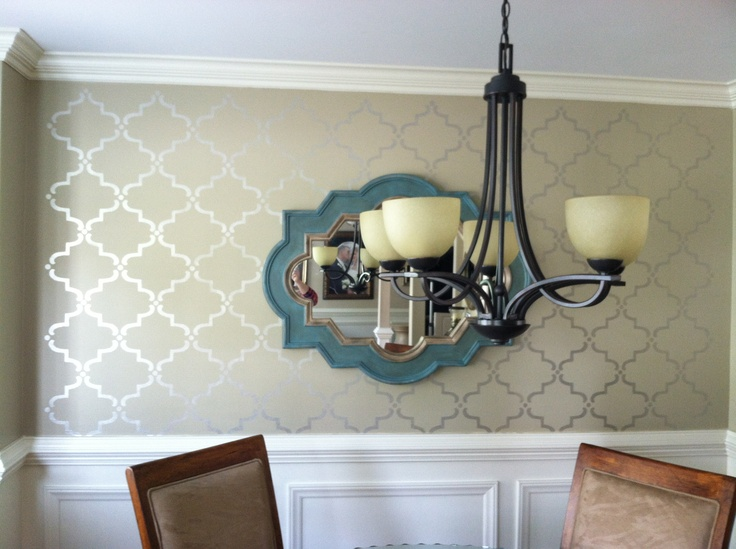 wall stencil by royal design studio and martha stewart metallic paint