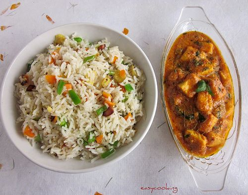 Indian style Fried rice with Shahi Paneer