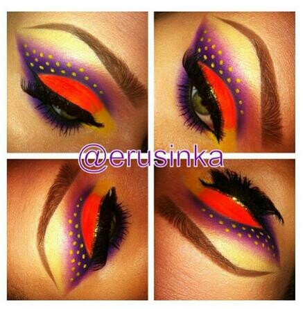 MAKE UP / POLKA DOTS / RED EYE SHADOW / PURPLE EYE SHADOW / FALSE EYE LASHES / GOLD EYE SHADOW