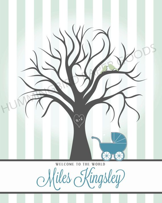 baby carriage fingerprint tree for baby shower by hummingbirdshops