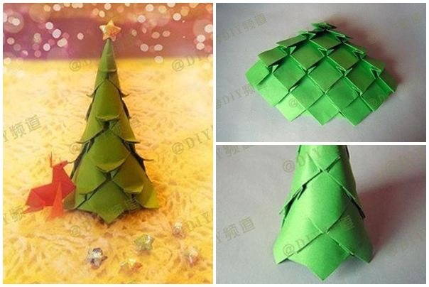 How to fold origami paper craft christmas trees step by step diy