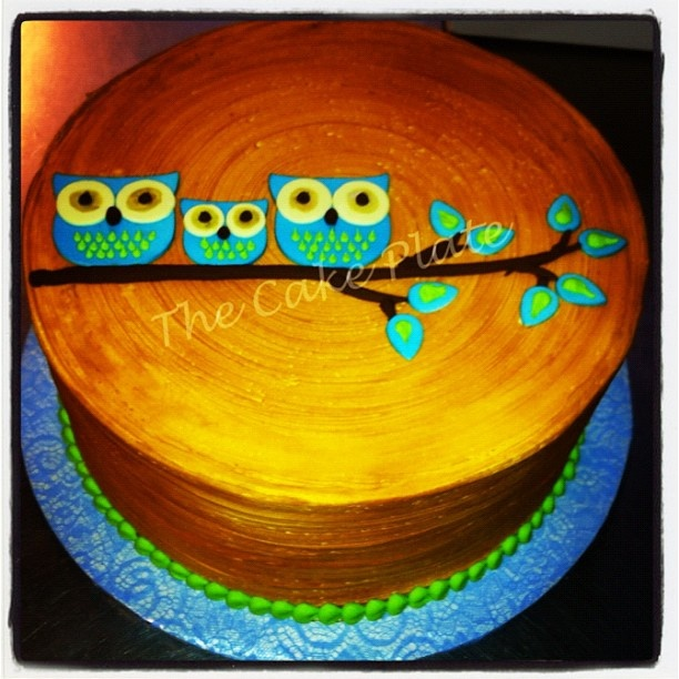 Owl Baby Shower Cake by TCP~Austin, TX